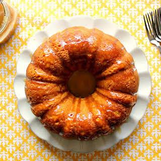 Pumpkin Bundt Cake with Salted Caramel Sauce.