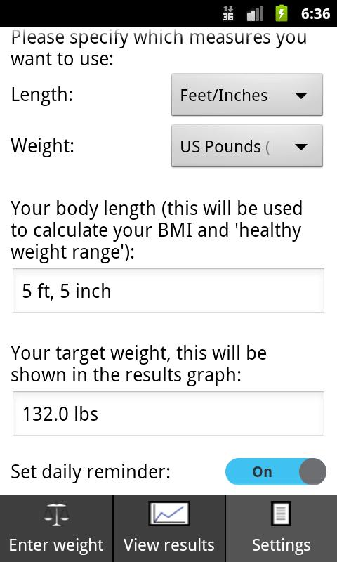 Track my weight - screenshot