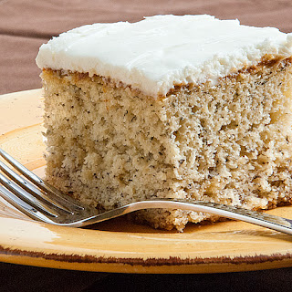 Simple Banana Cake with Sour Cream Frosting.