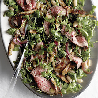 Grilled Steak and Arugula Salad with White Beans and Shiitake