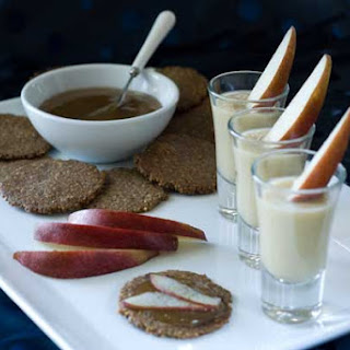 Gluten Free Pear Parsnip Soup with Pecan Blue Cheese Crackers and Pear Paste
