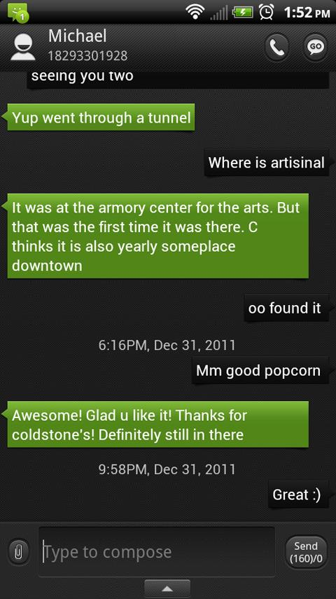 ONE Green GO SMS Theme - screenshot