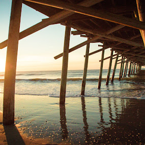 Sunrise Pier by Jill Laudenslager - Buildings & Architecture Bridges & Suspended Structures ( water, northcarolina, pier, ocean, beach, sunrise, atlantic )