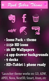 Pink Zebra theme and icon pack- screenshot thumbnail