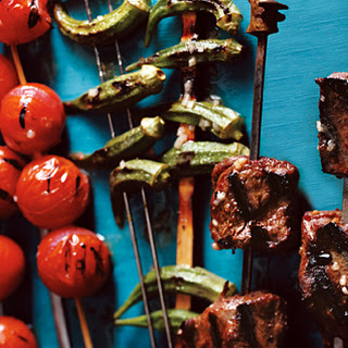 Steak, Tomato, and Okra Kebabs