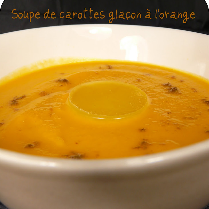 Carrot Soup with Orange Ice Cubes