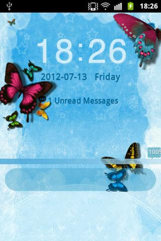 GO Locker Theme Butterfly Blue - screenshot