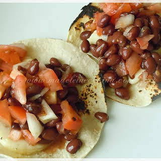 Grilled Panela Cheese and Bean Salad Tacos.