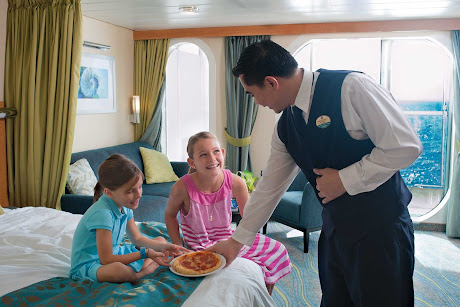 Pizza, mademoiselles? Room services in a stateroom on Allure of the Seas.