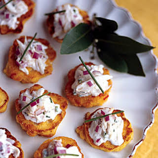 Double-Corn Fritters with Dungeness Crab Crème Fraîche.
