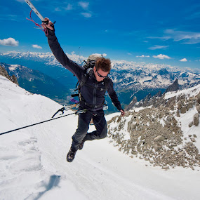 leap of faith by Vincenzo Bernardi - Landscapes Mountains & Hills ( guide · climb · person · mountain · freedom · peak · altitude · equipment · travel · landscape · people · moraine · adventure · cold · nature · sunny · ice · snow · mountaineer · mountaineering · alp · man · extreme · achievement · male · trekking · sport · trek · glacier · backpacking · climbing · tourist · frame · environment · mount · mont · freeze · outdoors · active · healthy · blanc · scenery · high · summit · natural · climber, snow, winter, cold,  )