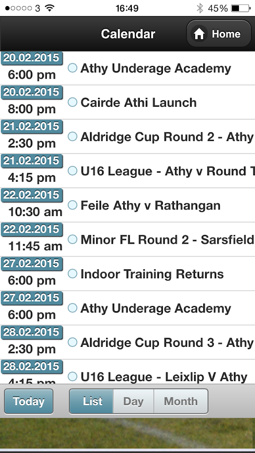Athy GAA App- screenshot