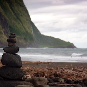 Rock Cairn, Waipio Valley, Hawai'i by Aaron Gould - Landscapes Beaches ( cliffs, waterfall, ocean, rocks )