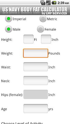 US NAVY Body Fat Calculator