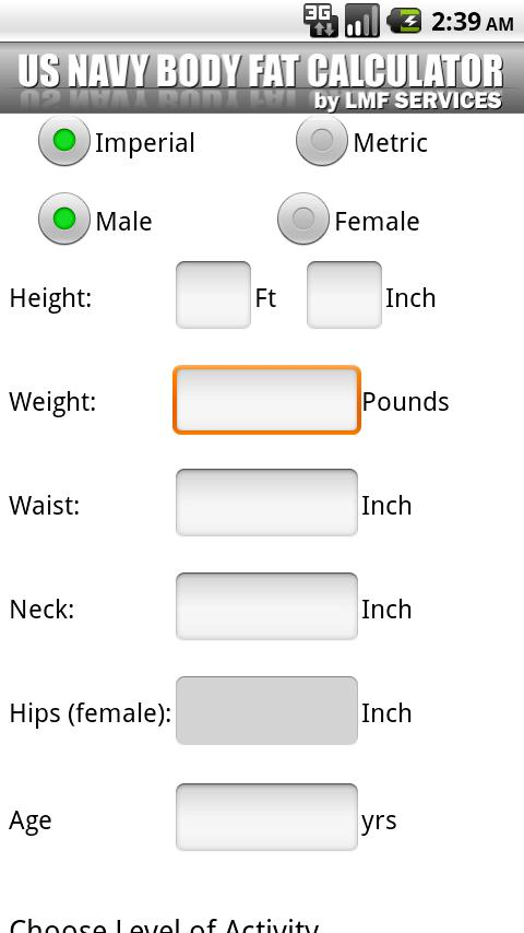 US  NAVY Body Fat Calculator - screenshot