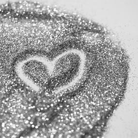 Silver Heart by Sharmila Narwani - Abstract Macro ( macro, b&w, heart, gold, glitter )