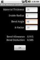 Screenshot of Bend Allowance Calculator