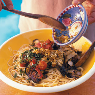 Spaghetti with Grilled Eggplant, Tomato & Onion