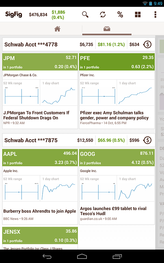 SigFig - Stocks & Investments - screenshot