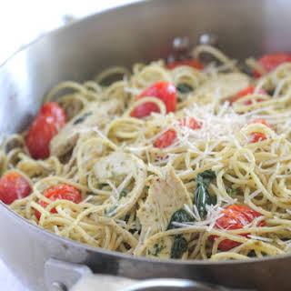 Roasted Chicken and Tomato Pesto Spaghetti Florentine.