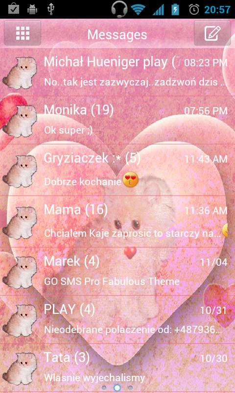 GO SMS Pro Theme Kitty - screenshot