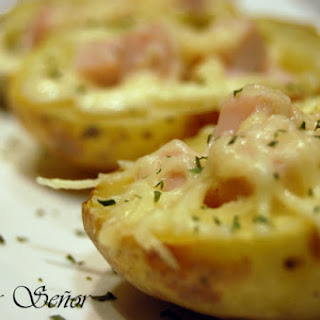 Potato Skins with Turkey and Low-fat Cheese.