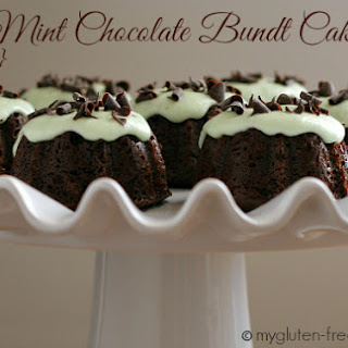 Mini Chocolate Bundt Cakes with Mint Frosting {Gluten-free}.