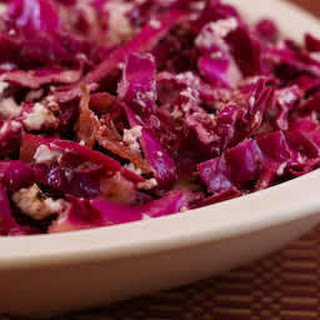 Warm Red Cabbage Salad with Bacon and Goat Cheese.