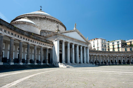Italy-Naples-2 - When you're exploring Naples, Italy, stop to admire the curved façade of the San Francesco di Paola church, located in the city's grand public square, Piazza del Plebiscito.