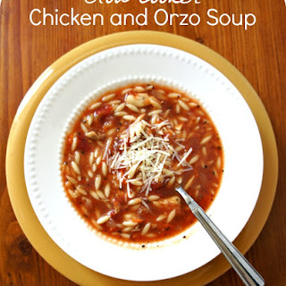 Recipe for Slow Cooker Chicken and Orzo Soup.