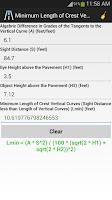 Screenshot of Highway and Road Calculator