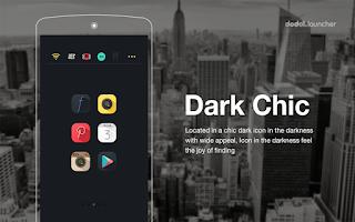 Screenshot of Dark Chic LINE Launcher theme
