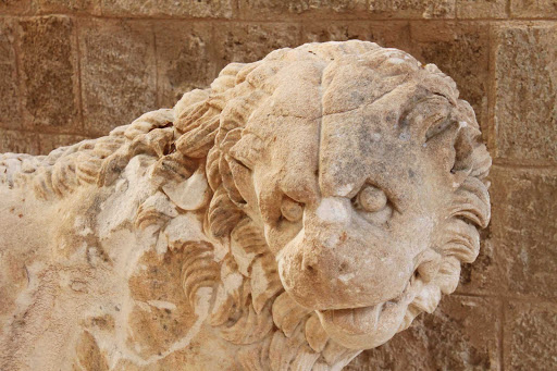 lion-museum-Rhodes-Greece - A lion at the Archeological Museum in Rhodes, Greece.
