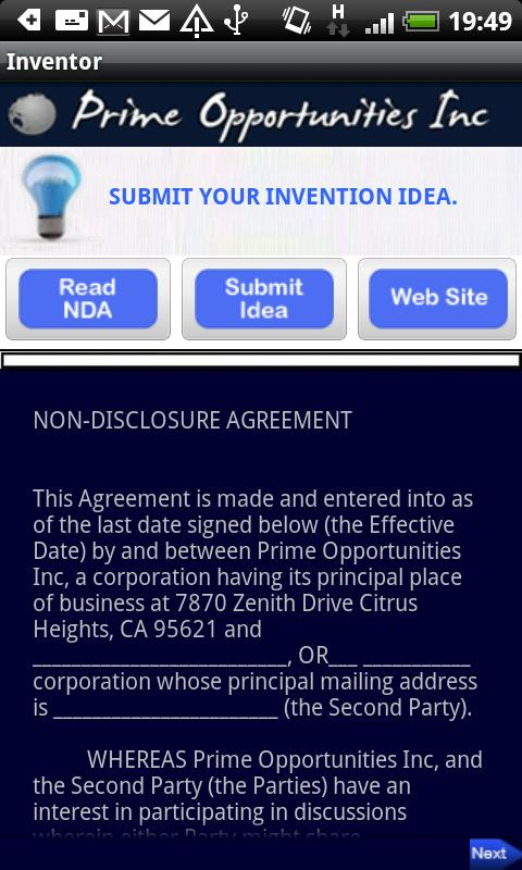 Inventors Submit Your Idea's - screenshot