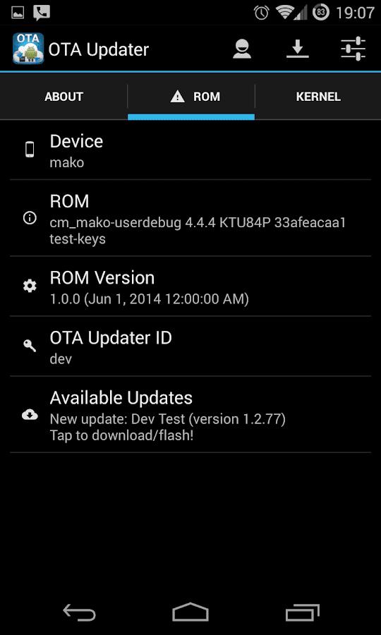 OTA Update Center - screenshot