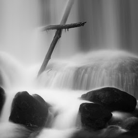 Washed Away by Joel DeWaard - Black & White Landscapes ( water, crucifix, stream, cleansed, falls, waterfall, washed away, cleansing, cross )