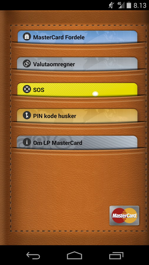 MasterCard Fordele- screenshot