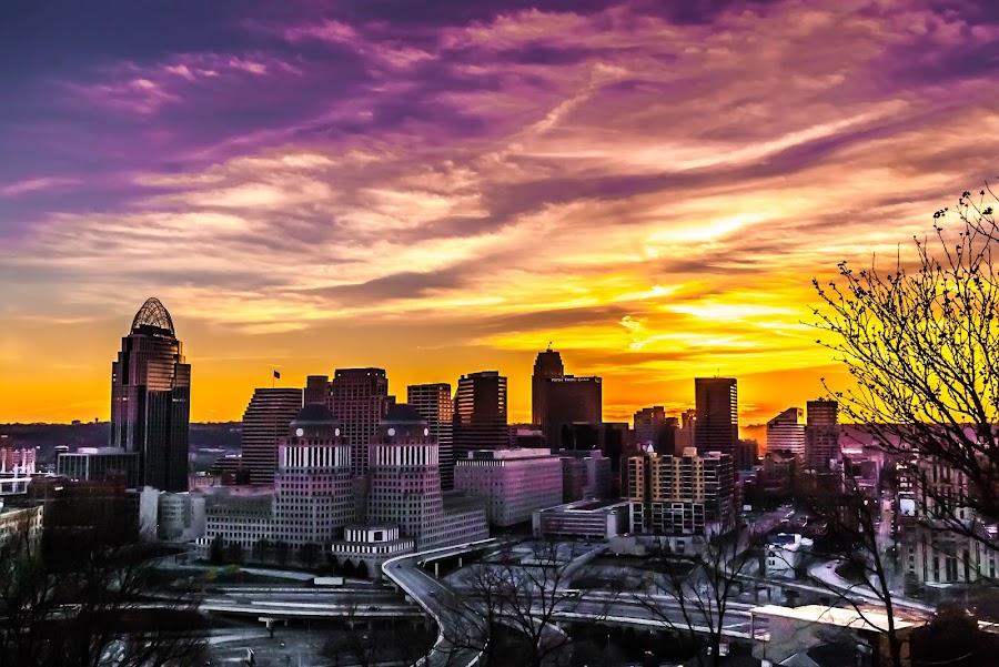 Here Come the Pinks by Pat Lasley - City,  Street & Park  Skylines ( skyline, sunset, cincinnati, dusk, golden hour,  )