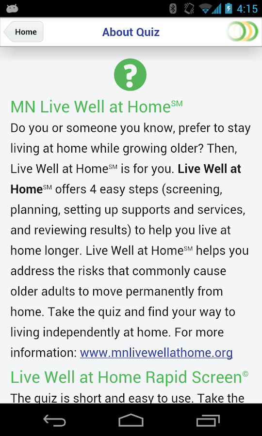 Live Well at Home- screenshot