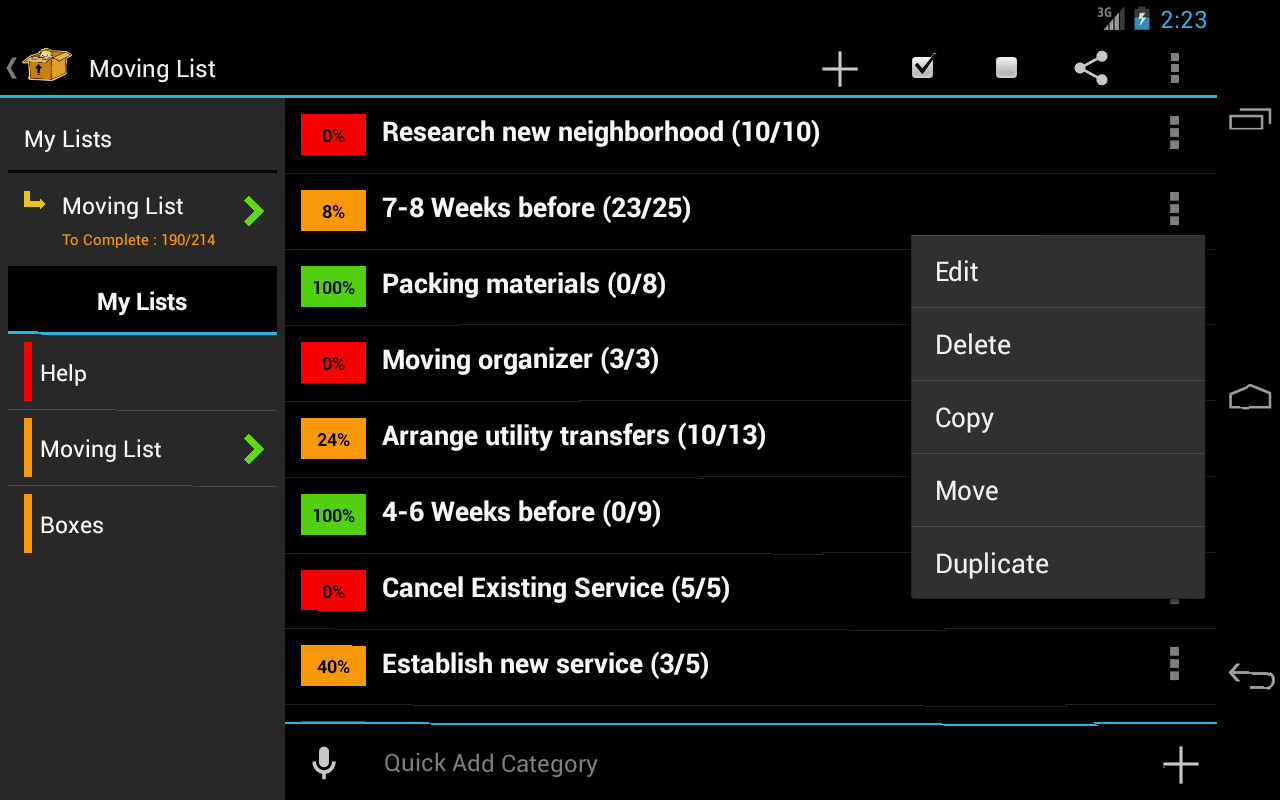 Moving Planner - screenshot
