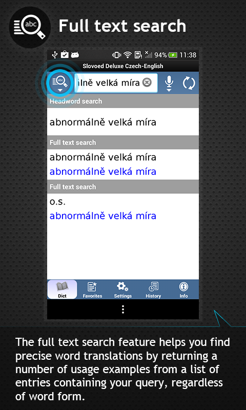 Czech<->English dictionary - screenshot
