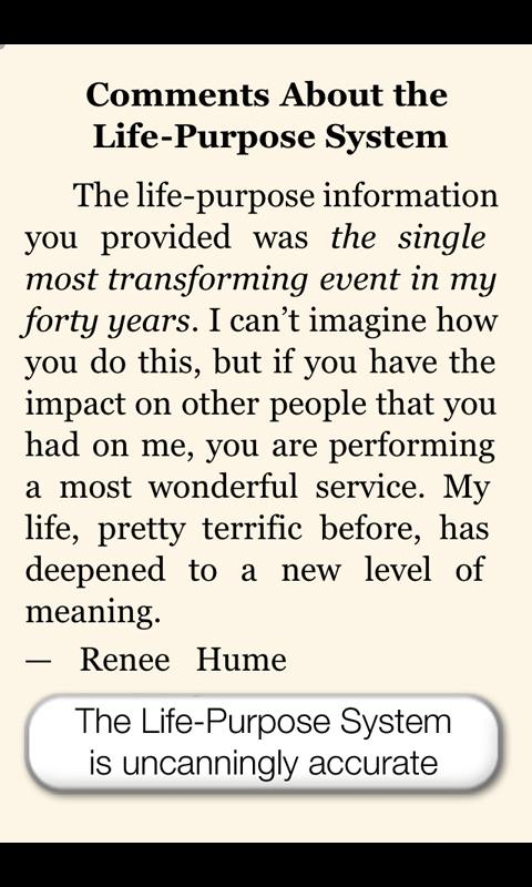 Life Purpose App - screenshot