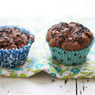 Cocoa And Banana Muffins With Black Sesame Seeds.