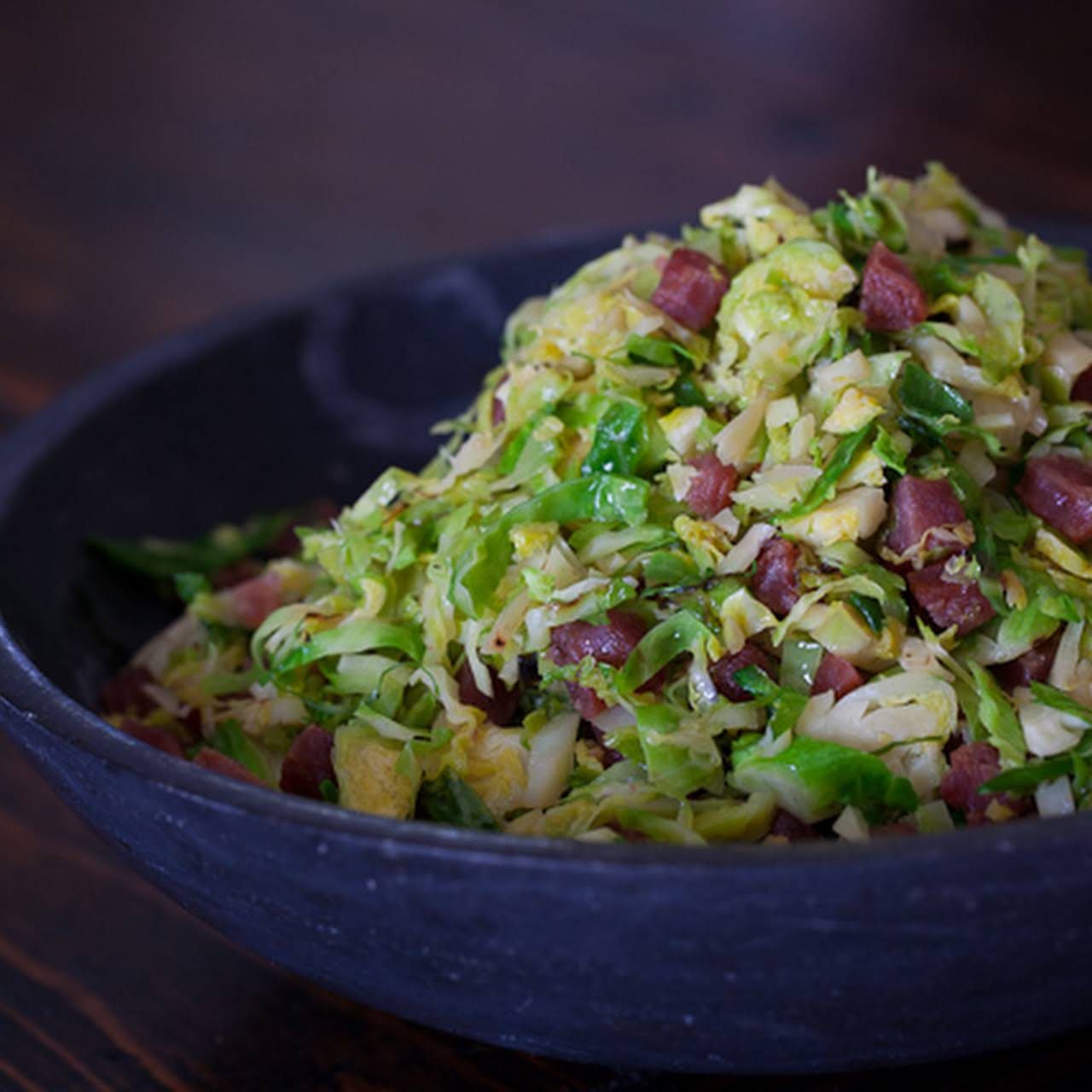 Brussels Sprouts  as soon as Chinese Sausage