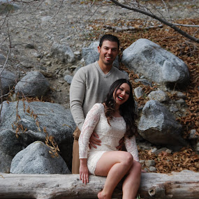 Engaged by Nancy Lowrie - People Couples ( love, woman, couple, woods, rocks, man,  )