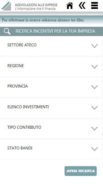 Agevolazioni alle imprese - screenshot