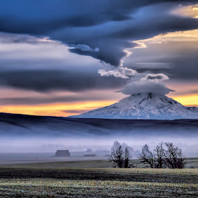 Clouds over Mt Hood by Gaylord Mink - Landscapes Cloud Formations ( clouds, mountain, fog, sunset, landscape,  )