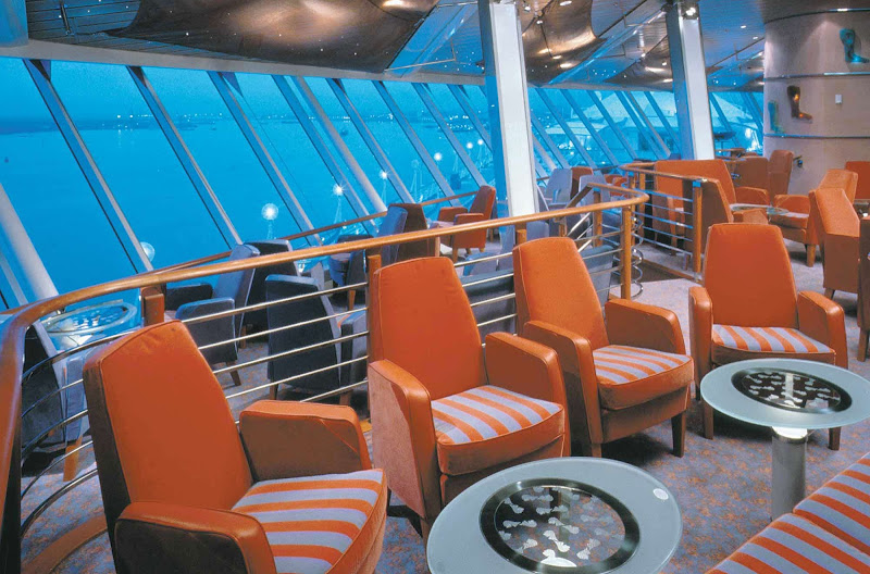 Take in the views by day and party it up at night at the Viking Crown Lounge and Nightclub, on deck 11 of Vision of the Seas.