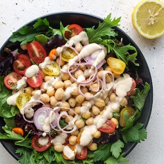 Green Salad + Chickpeas + Lemon-Tahini Dressing.