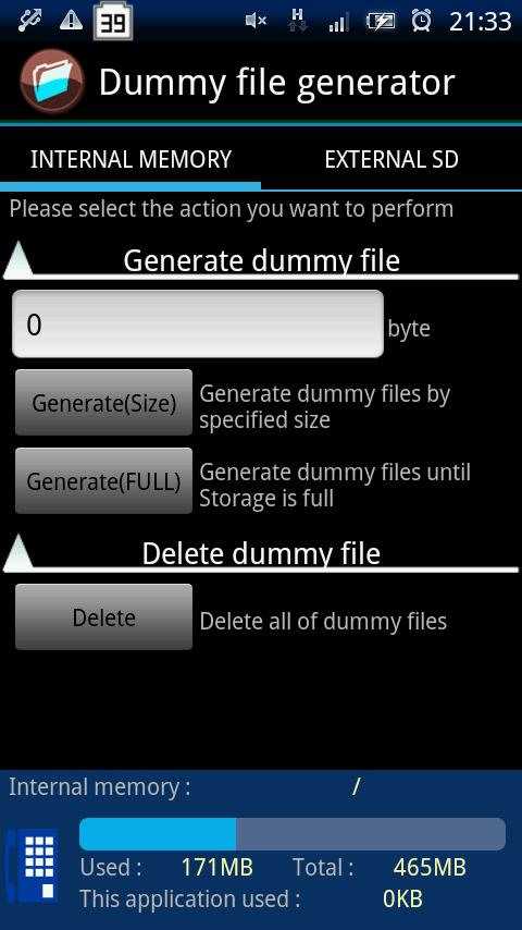 Dummy file generator- screenshot